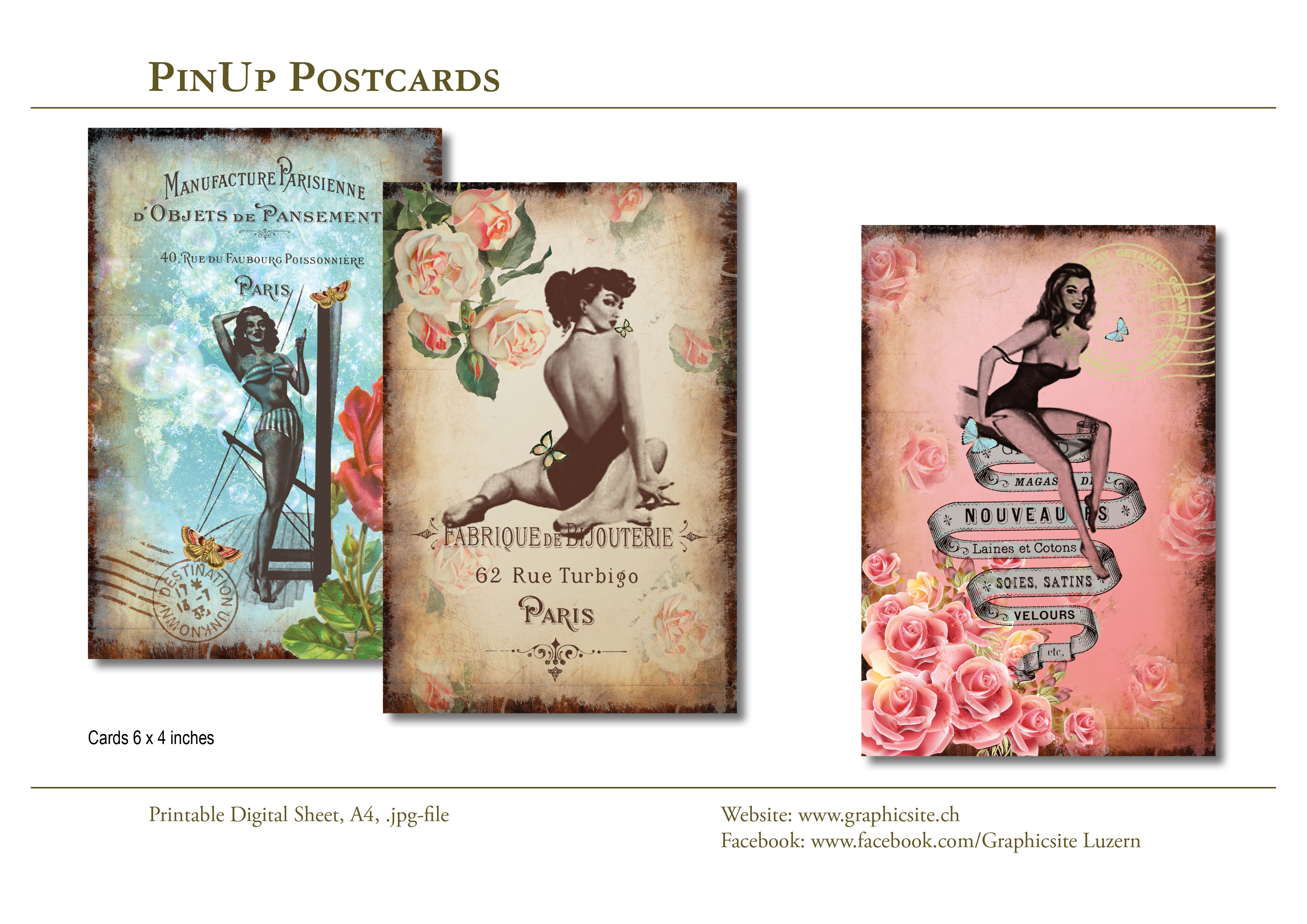Printable Digital Sheets - 6x4 images - PinUp Postcards #postcards, #greetingcards, #tags