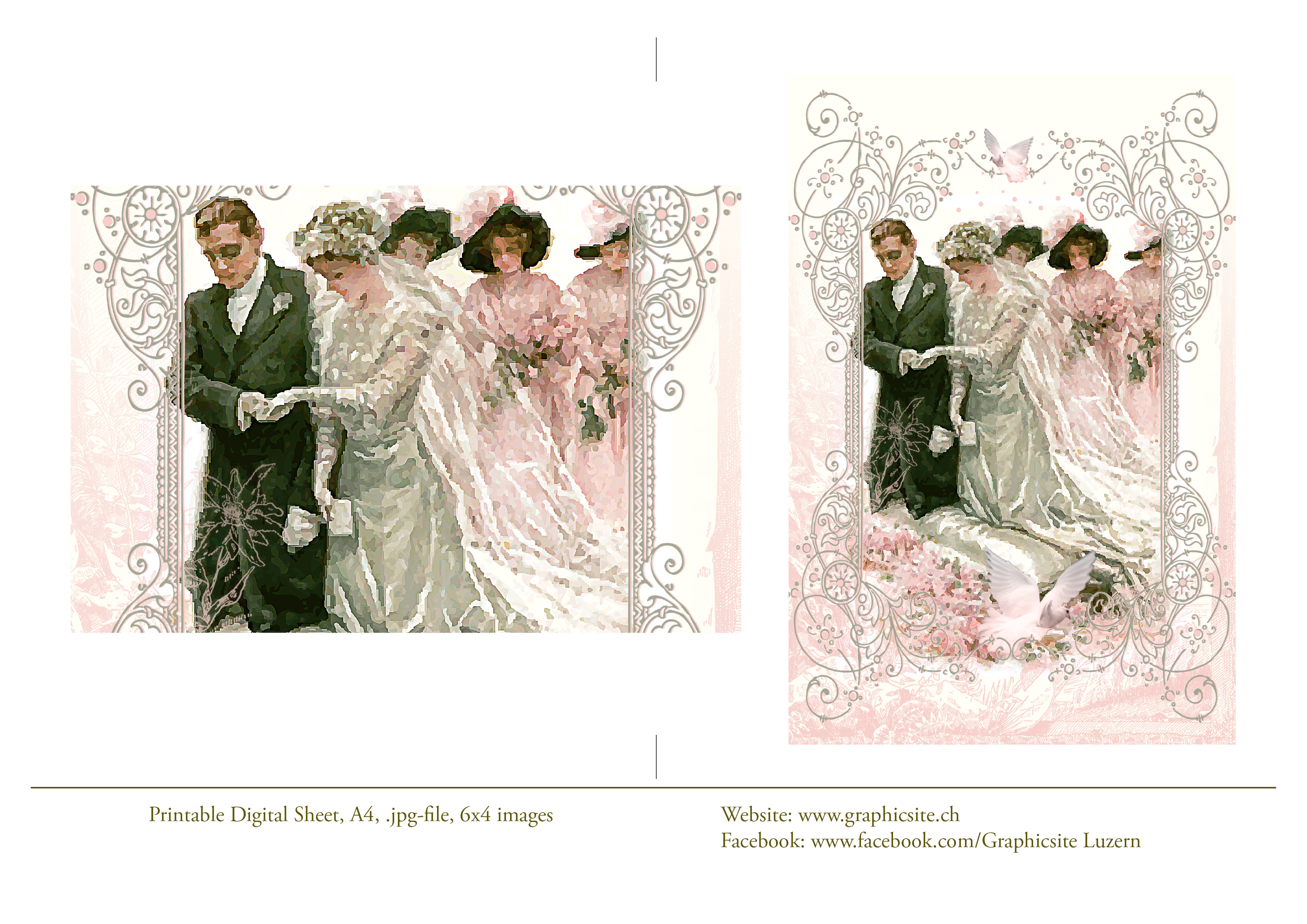 Printable Digital Sheet - 6x4 images - Victorian Wedding