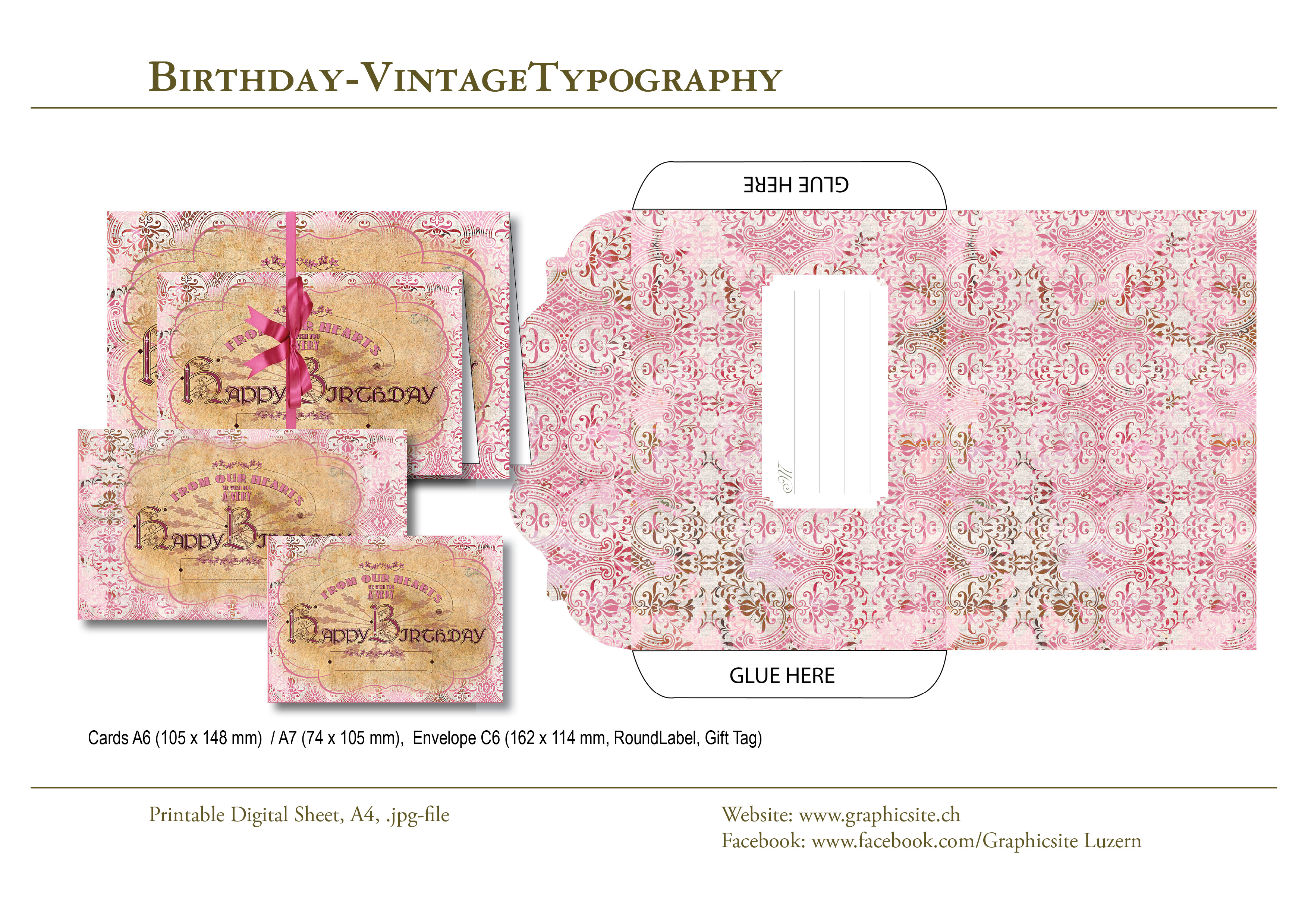 Printable Digital Sheets - Birthday Collections - BirthdayVintageTypography - #birthday, #cards, #envelope, #labels, #tags, #typography