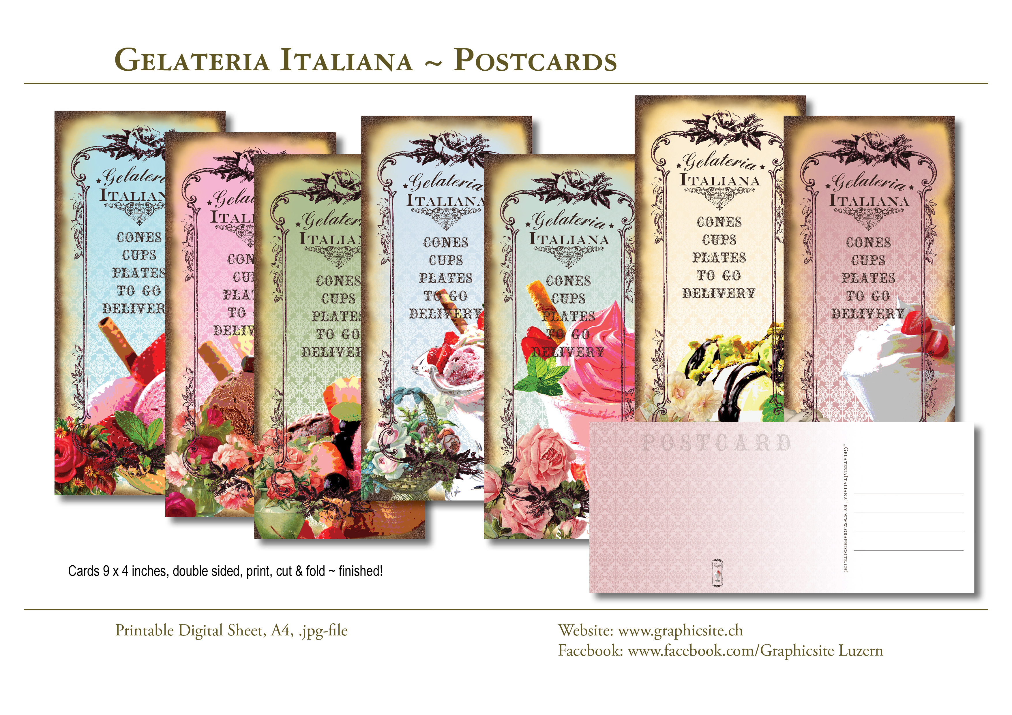 Printable Digital Sheets - Cards 9x4 inches - Gelateria Italiana, #icecream, #dessert, #cards, #postcards, #greetingcards, #menu, #scrapbooking, #papergoods,