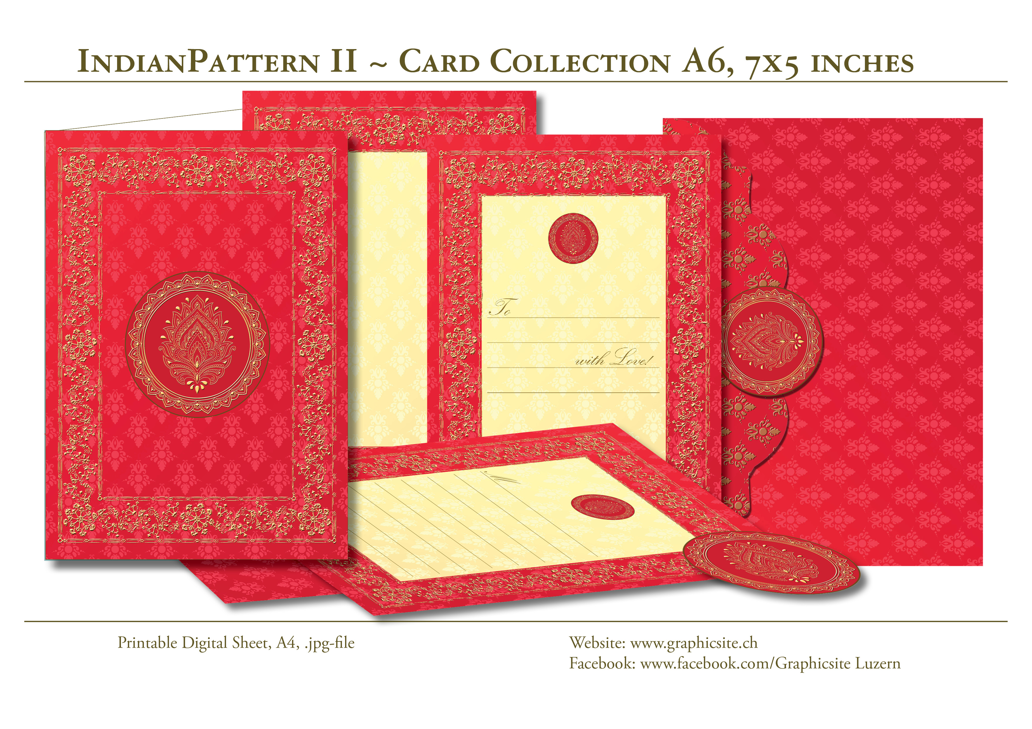Indian Pattern 2 - Card Collection A6 - India, Yoga, Meditation, Wedding, Engagement, Graphic Design, Luzern,