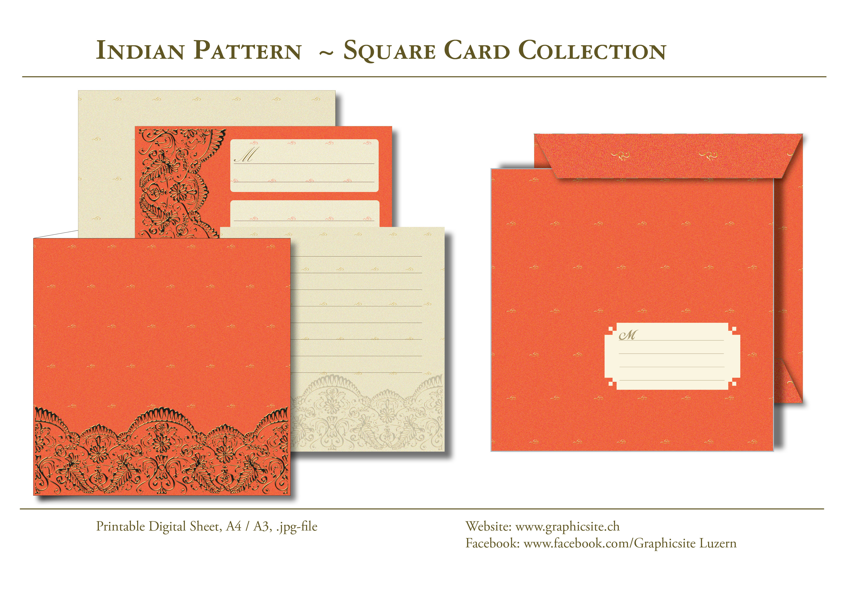 Printable Digital Sheets, Online, download, cards, card collection, square cards, Indian Pattern, Graphic Design, Luzern,