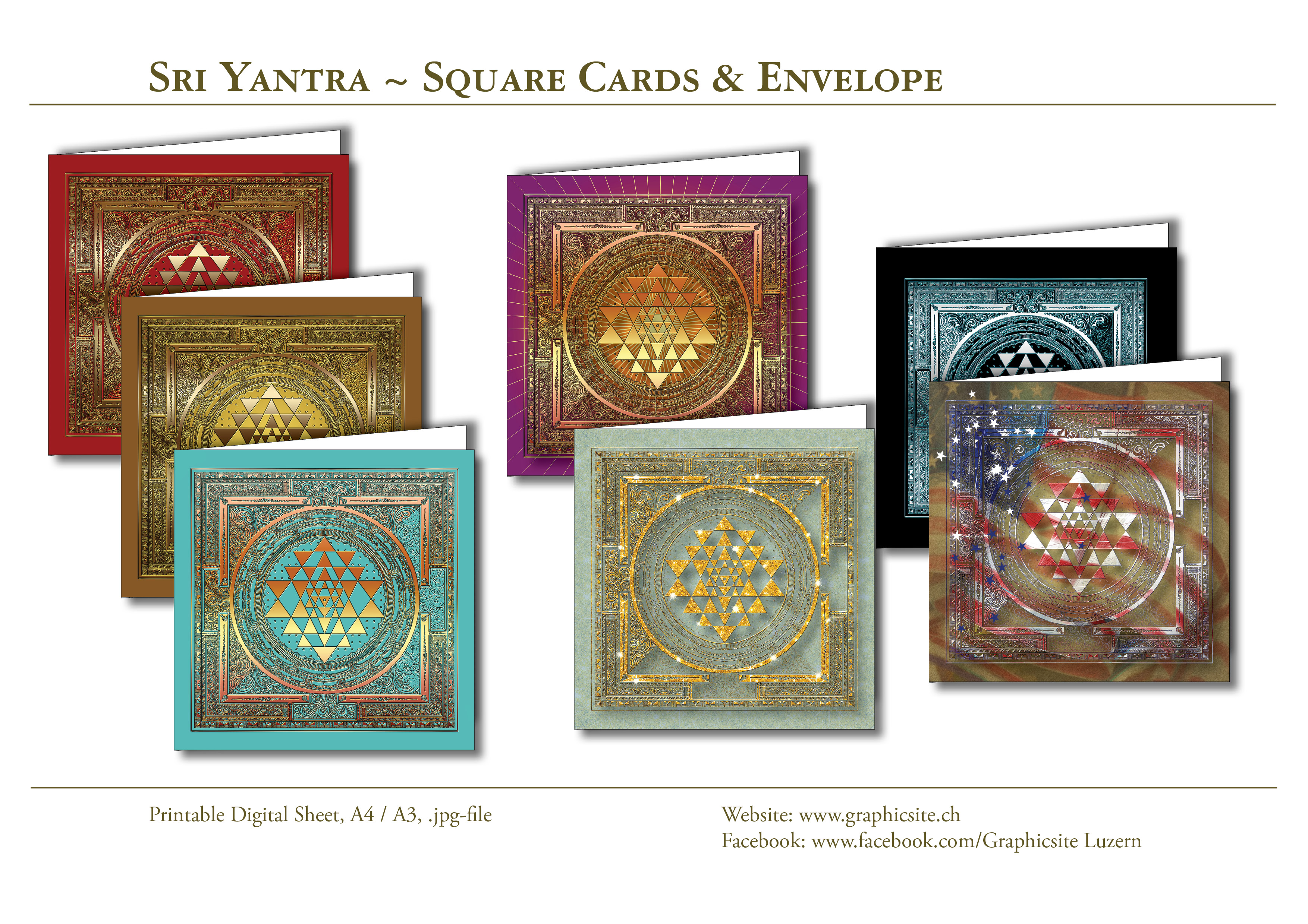 Sri Yantra - Card Collection - Square Cards - Envelope, Stationary, Greeting Cards, Yoga, Meditation, India, Hinduism, Graphic Design Luzern, Grafiker Luzern,