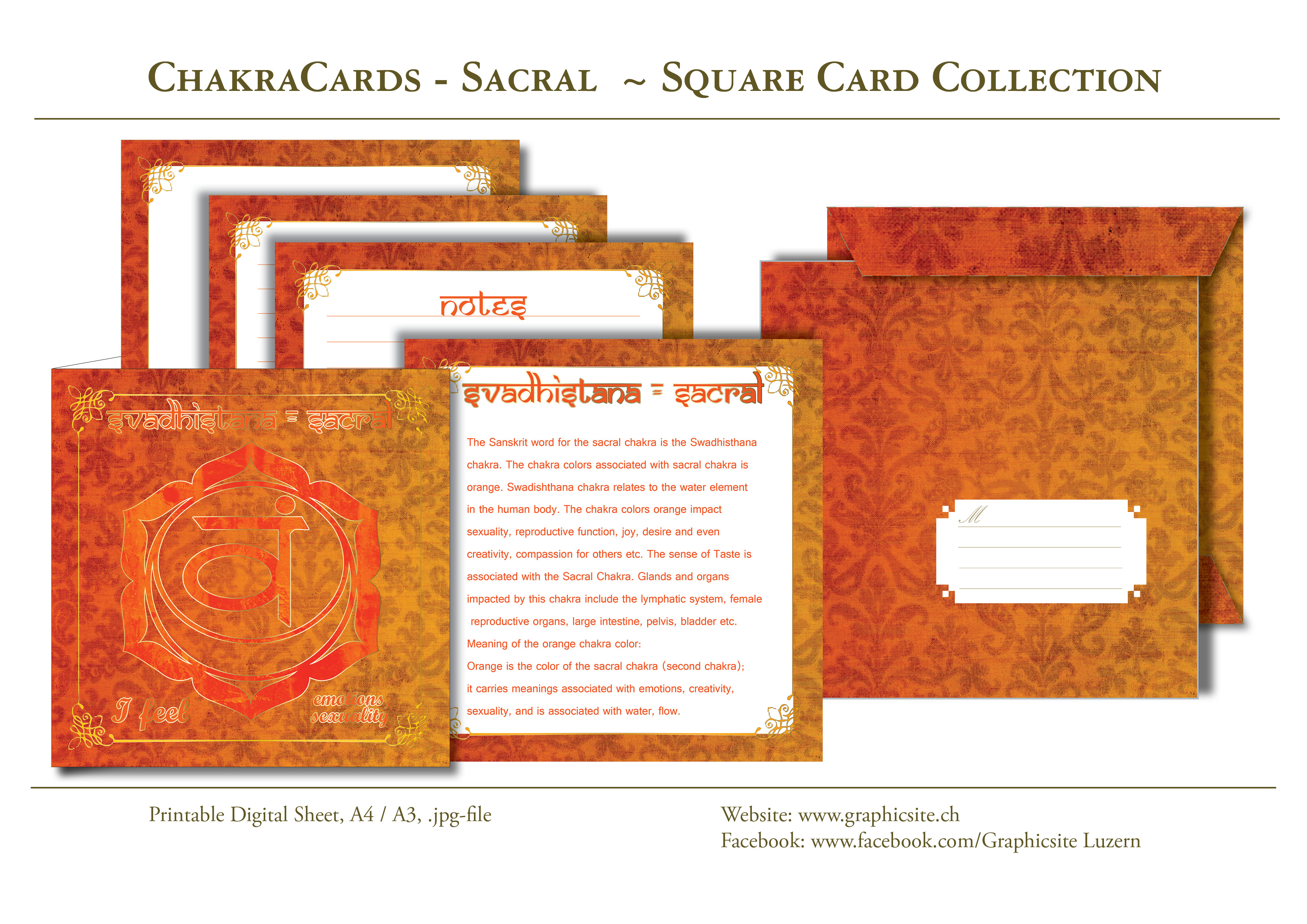 Printable Digital Sheets - Square Card Collections - Chakra Cards, Swadhisthana, Sacral,