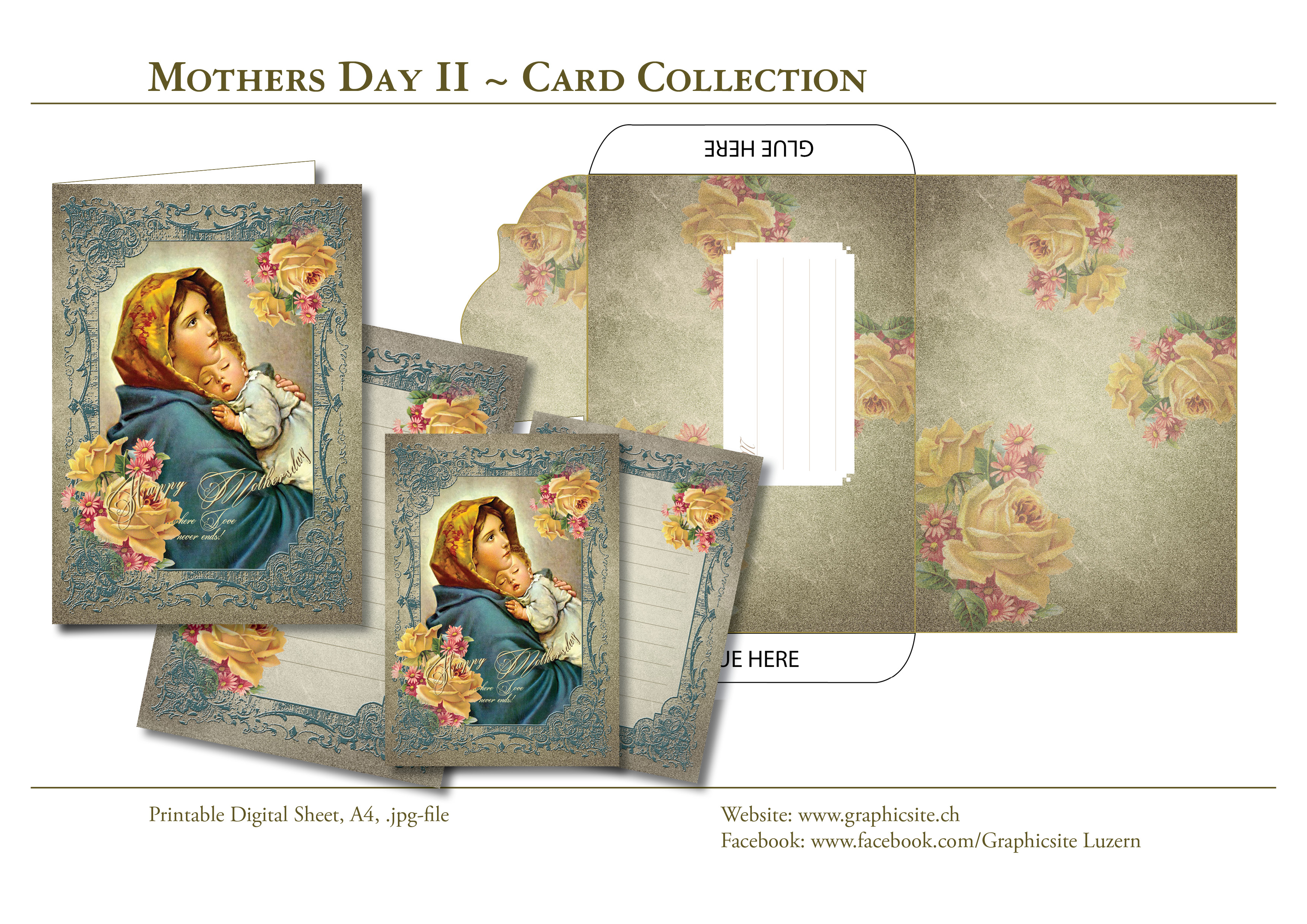 Printable Digital Sheets - Mothersday2 - Card Collection - #mothersday, #mother, #mom, #greetingcards, #graphicdesign, #luzern, #schweiz