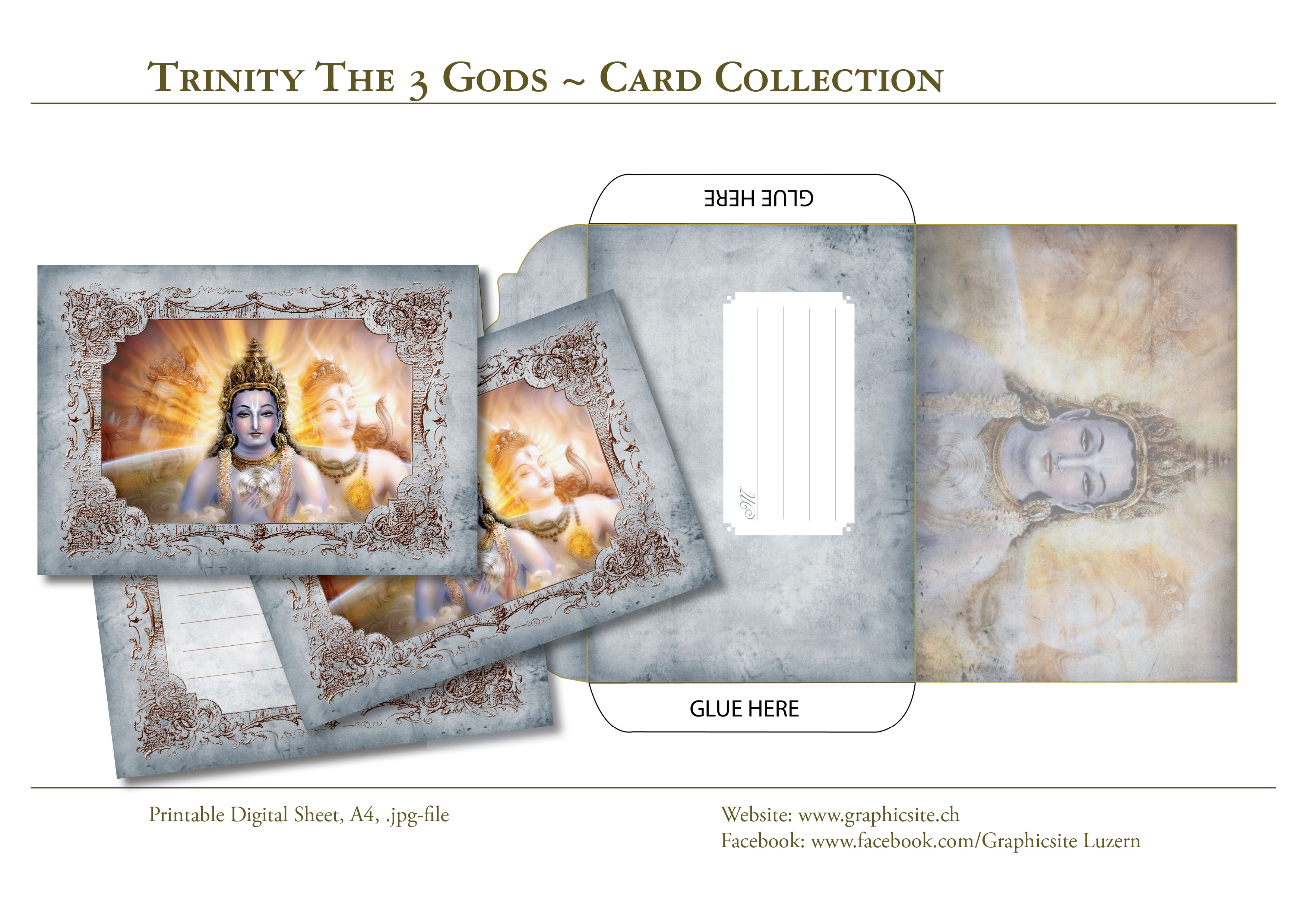 Trinity The 3 Gods - Card Collection DIN A-Formats, Printable Digital Sheets - #greetingcards, #cards, #printable, #envelope, #notecard, #yoga, #meditation, #hinduism, #india,