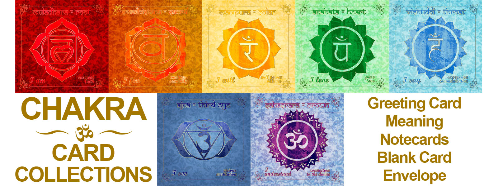 Printable Digital Sheets - Square Card Collections - Chakra Cards, Complete Collection,