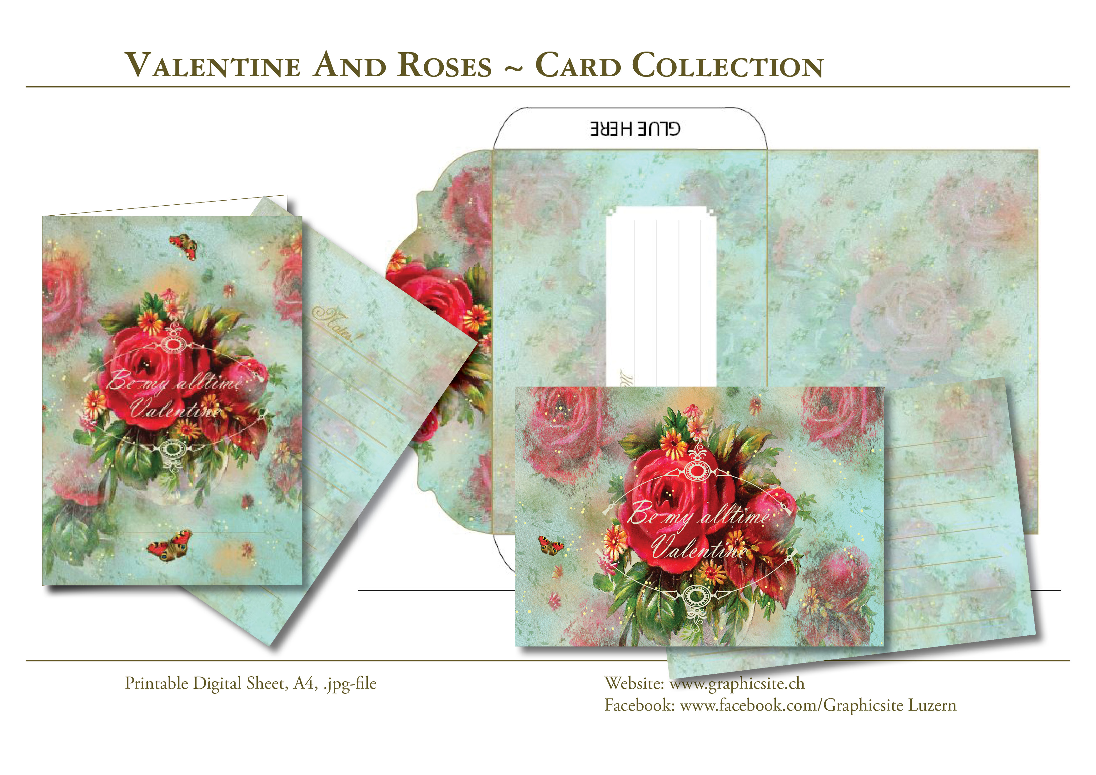 Printable Digital Sheets - DIN A Collection - Valentine And Roses - #cards, #greetingcards, #valentinecards, #envelope, #love, #wedding, #engagement,